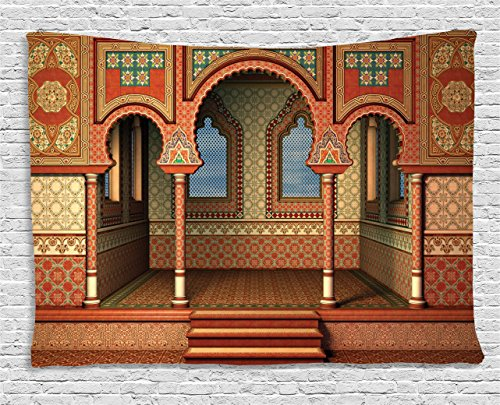 - Ambesonne Arabesque Tapestry by, Middle Eastern Oriental Style Interior Palace Architecture Vintage Art Design, Wall Hanging for Bedroom Living Room Dorm, 80 W X 60 L Inches, Golden Red