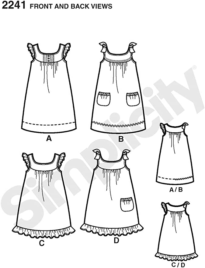 Simplicity Sewing Pattern 2241 Learn To Sew Childs Girls Dresses Size 3-6