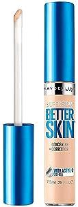 Maybelline New York SuperStay Better Skin Concealer + Corrector, Light 0.25 oz (Pack of 4)