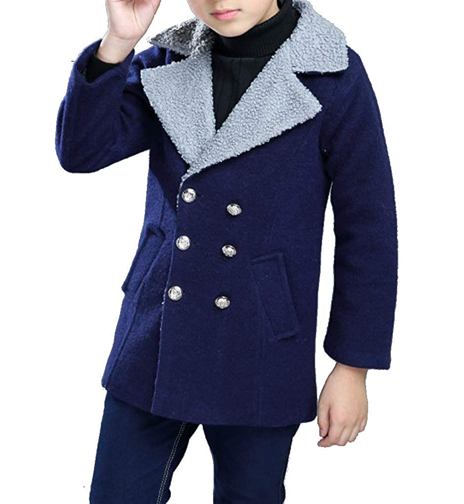 Qinni-shop Boys Kids Quilted Wool Coat Double Breasted Pea Coat Winter Jacket Outwear