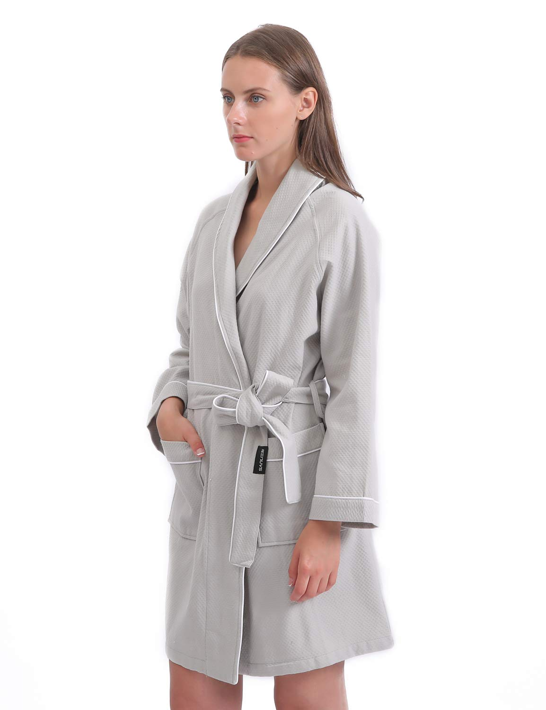 Sanli Women Cotton Waffle Robe, Soft Short Kimono Spa Bathrobe, M Gray