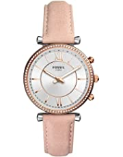Fossil Damen Analog Quarz Smart Watch Armbanduhr mit Leder Armband FTW5039