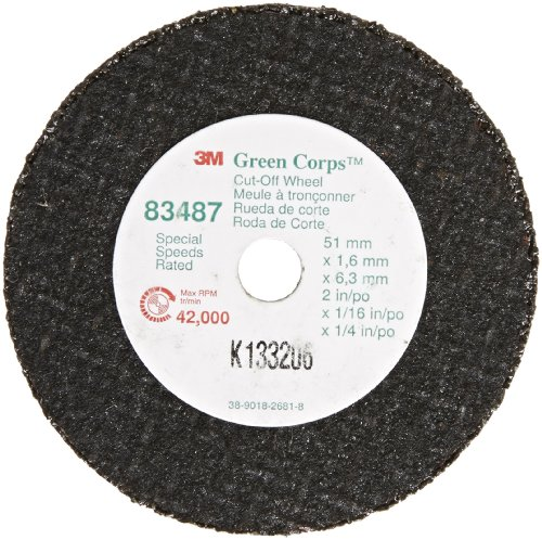 3M Green Corps Cut-Off Wheel 83487, Ceramic, 2'' Diameter (Pack of 50) by 3M