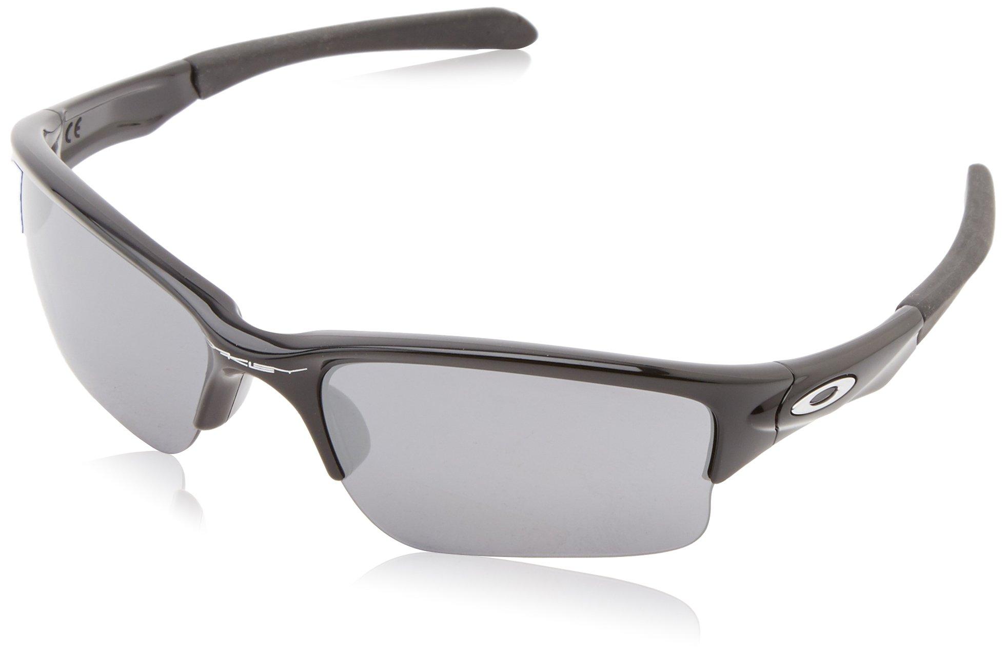 Oakley Quarter Jacket Non-Polarized Iridium Rectangular Sunglasses,Polished Black/Black Iridium lens,61 mm (Youth Fit)