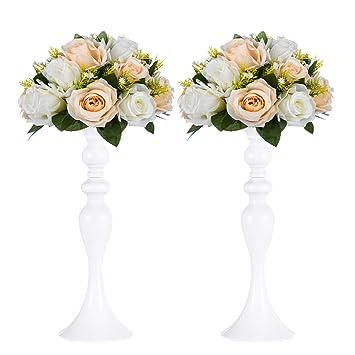 2 Pcs Vase En Metal Pour Le Mariage Pieces De Table Decoration Pilier Bougeoir Support Set Pour Mariage Partie De Centre De Table Decor A La Maison