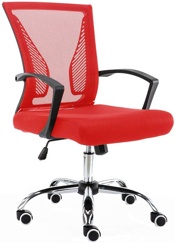 Modern Home Zuna Mid - Back Office Chair, Black/Red