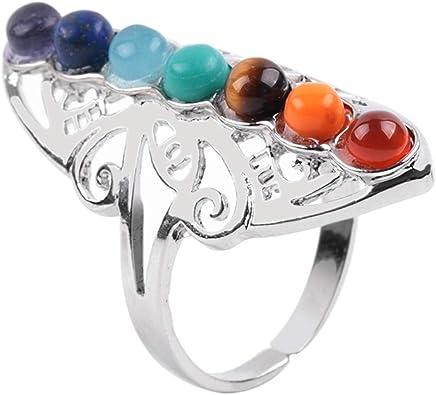 Daawqee Damen Ring, 7 Chakra Stone Bead Finger Rings