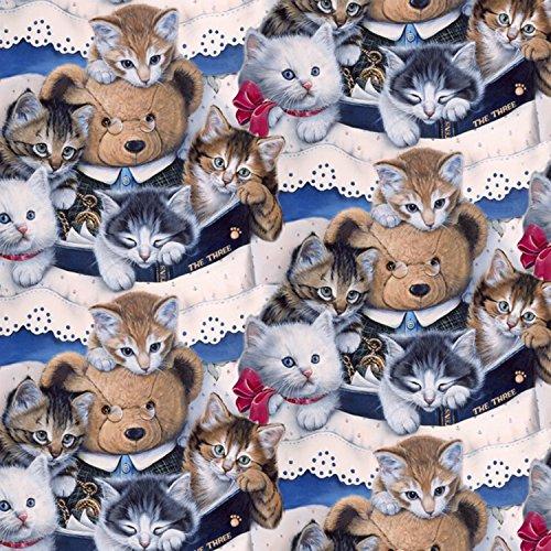 Cat Fabric - Animal Pride - Kittens & Teddy Bears - Digital Print - 100% Cotton - by The Yard (Fabric Teddy Bear)