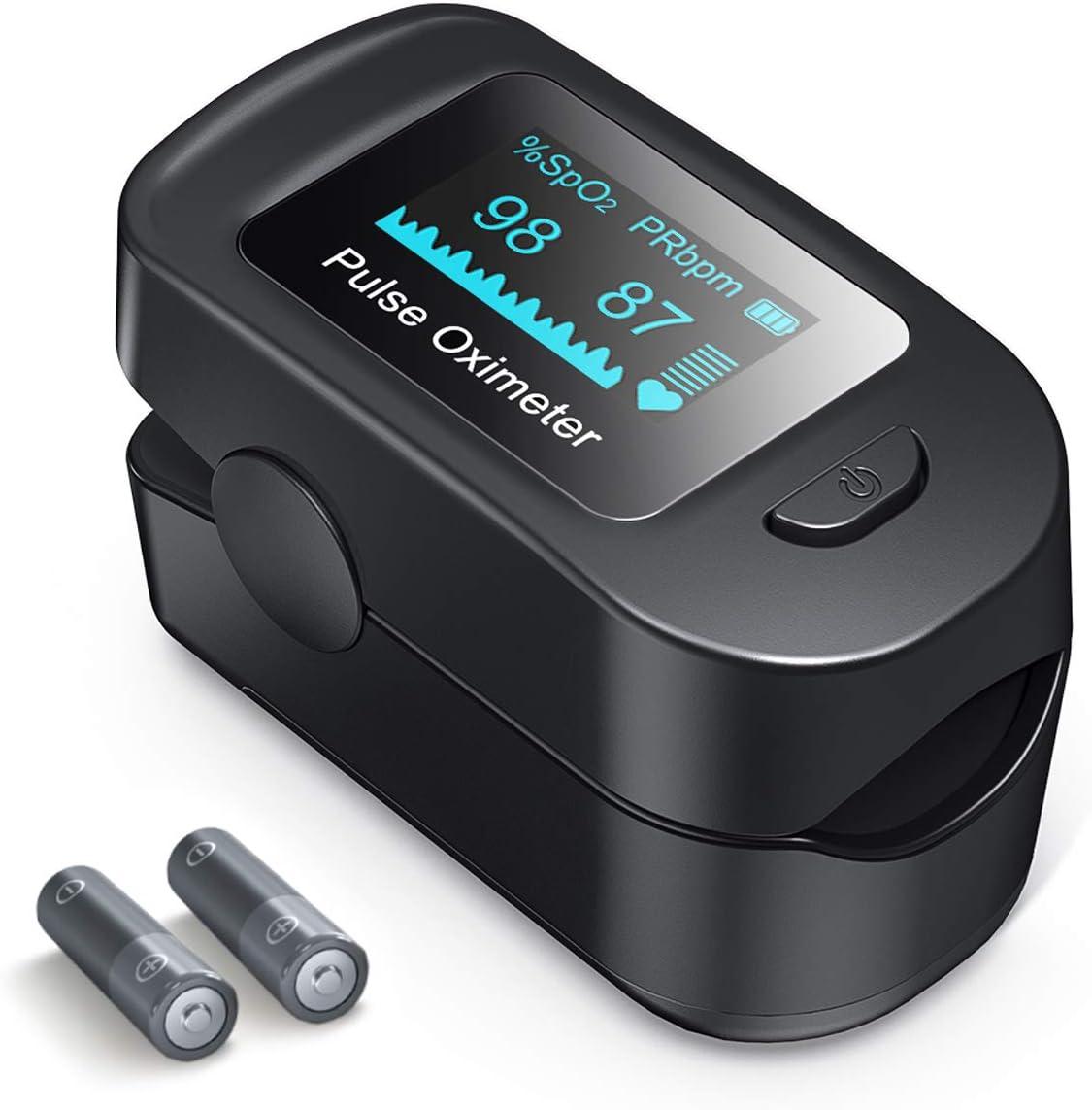 Oxímetro de Pulso de Dedo, Roffie Pulsioxímetro Monitor de Salud Corporal con Pantalla OLED, Medidor de Sensor de Pulso con Alarma para Adultos y Niños(Negro)
