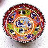 Handmade Hand Painted Turkish Ottoman iznik Kutahya Raised Red Floral Pattern Ceramic 5.9'' 15cm Set of 2 Clearance