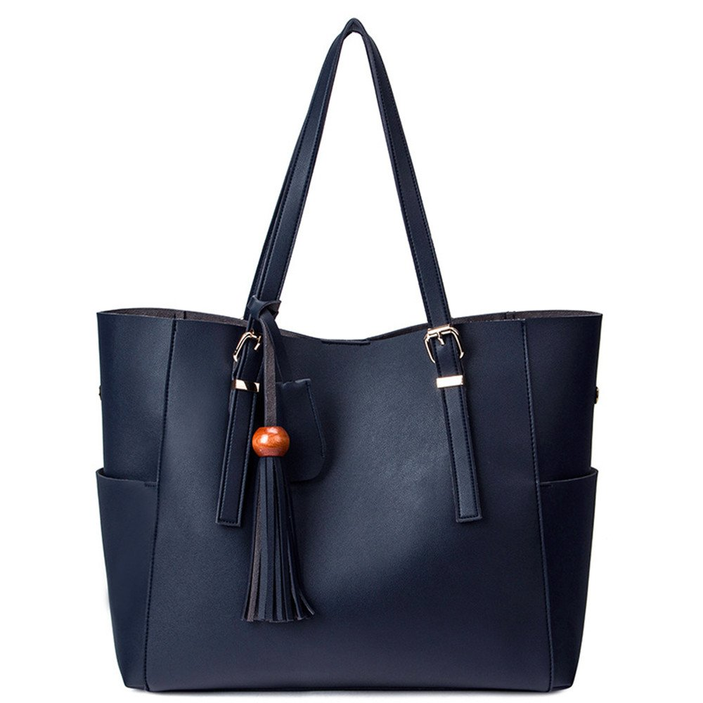 SIFINI Women Casual Handbag Simple Shoulder Bag Tote Bag Purse, Blue