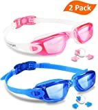 EVERSPORT Swim Goggles (2 Pack or 1 Pack), Swimming Goggles Swim Glasses Anti fog UV Protection for Adult Men Women Youth Kids Child, Shatter-proof, Watertight