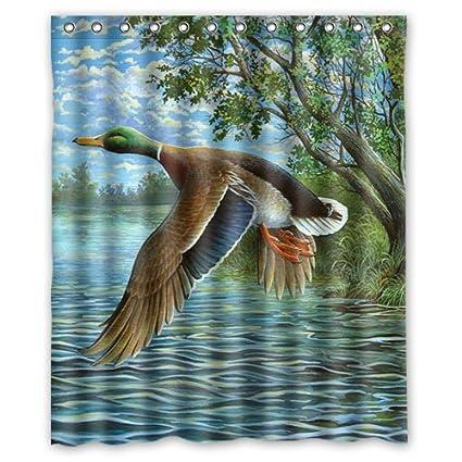 Amazon Com Shower Curtain Mandarin Duck Mallard Duck Duck Flying