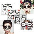 COKOHAPPY Glitter Day of the Dead Sugar Skull Rose Floral Black Skeleton Temporary Face Tattoo Kit - Pack of 4 Kits