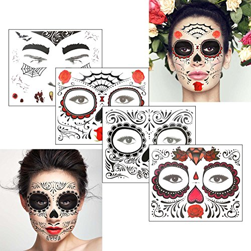 COKOHAPPY Glitter Day of the Dead Sugar Skull Rose Floral Black Skeleton Temporary Face Tattoo Kit - Pack of 4 Kits