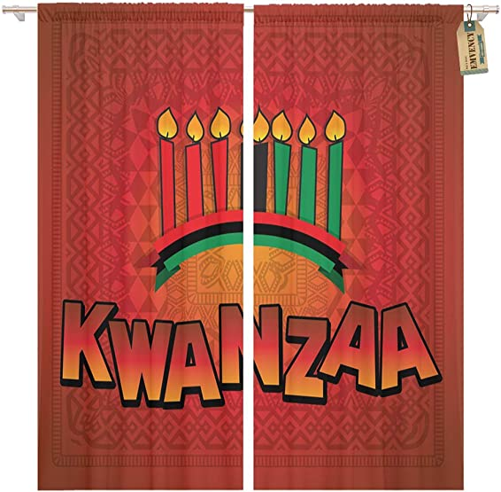 Golee Window Curtain Africa for Kwanzaa Seven Candles in Happy African Home Decor Pocket Drapes 2 Panels Curtain 104 x 96 inches