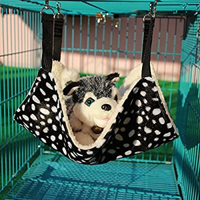 WZYuan Pet Cage Hammock, Polyester Polka Dot Small Pet Animal Small Dog Puppy Cat Kitty Kitten Ferret Hanging Hammock Bed Sleepy Pad Comforter Black and White