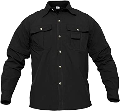 MAGCOMSEN Quick Dry Breathable Convertible Mens Long Sleeve Shirt for Hiking Work Military