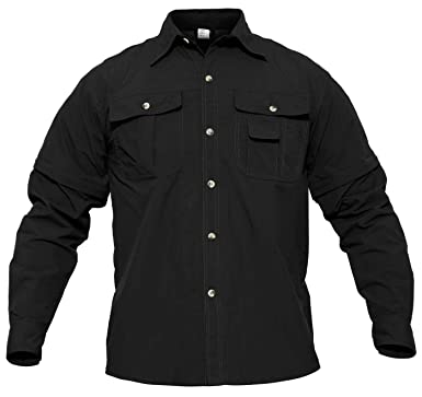 de8359df879 CRYSULLY Men s Outdoor Shirts Quick Dry Fishing Zip Off Cargo Work Shirt  Rip Stop Windproof Convertible