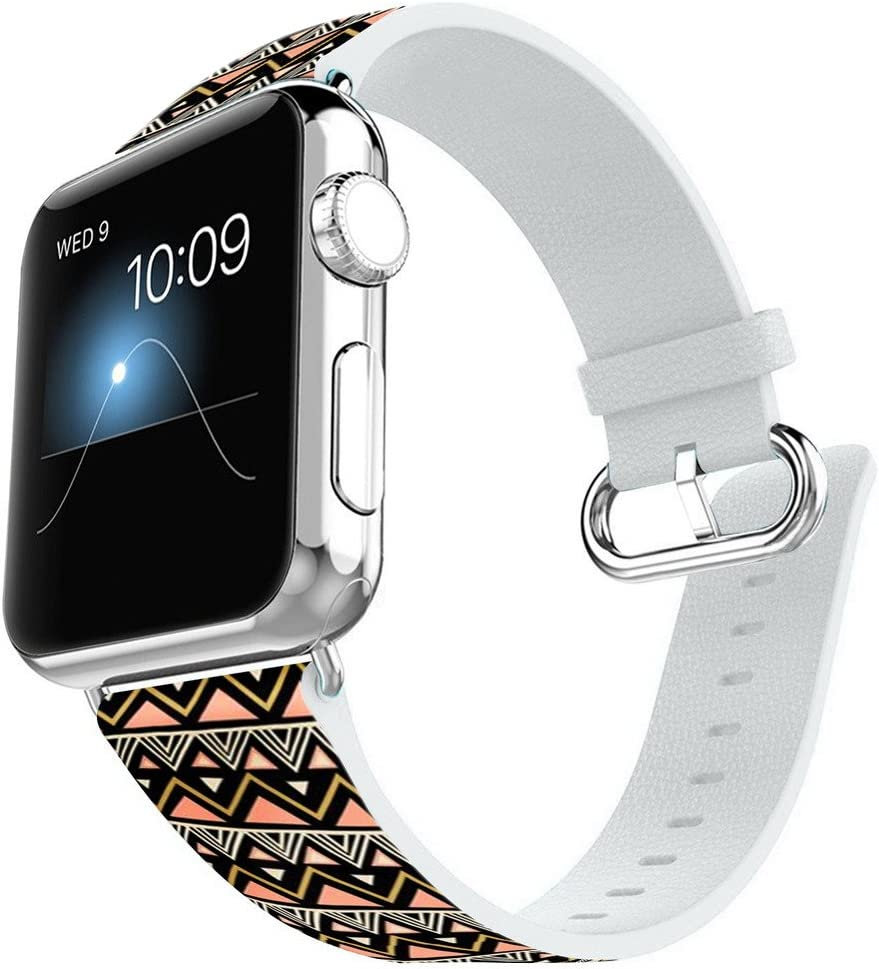 Compatible for Apple Watch 42MM Leather Band Replacement Bracelet Strap for iWatch 42mm Series1 and Series 2 Series 3 - Retro Aztec Pattern