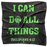 I Can Do All Things Bible Verse Christian Fashion Women's Print Square Kerchief Scarf Head Wrap Neck Satin Shawl