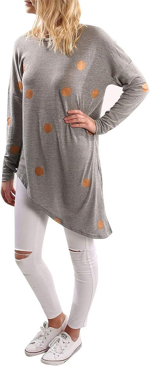 Dot Printing Irregular Hem Shirt Women Long Sleeve Round Collar Bottom T-Shirt