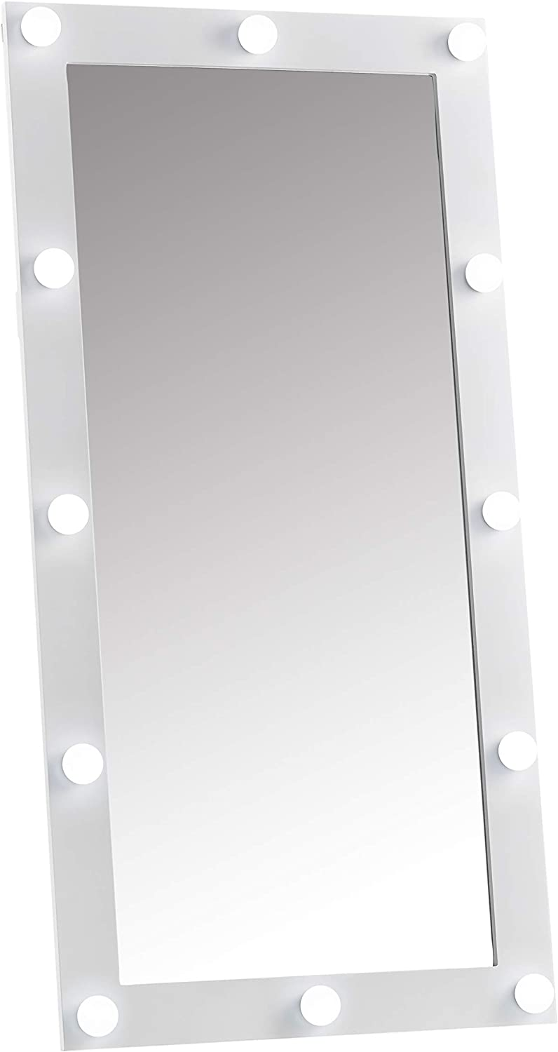 Saskia White Hollywood Wall Mounted Vanity Illuminated Mirror With 12 Bulbs Led Lights Dimmable Switch For Bedroom Amazon Co Uk Kitchen Home