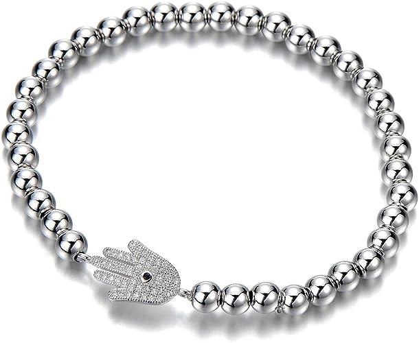 Pulsera de Perlas de Mujer Hombre Niñas, Pulsera del Encanto, Brazalete con Zirconio Cúbico Hamsa Mano de Fátima