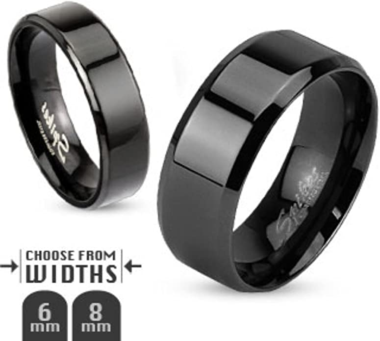 8mm Groove Lined Gold IP Center Stainless Steel Band Men/'s Fashion Ring