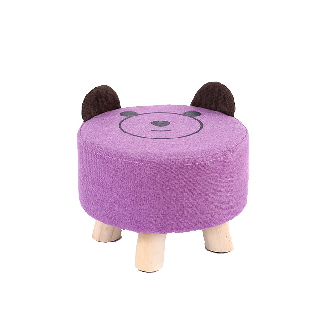 HM&DX Round Ottoman Foot stool,Linen Upholstered Footstool Bear Foot rest With removable seat cover 3 wood feet For kids-purple