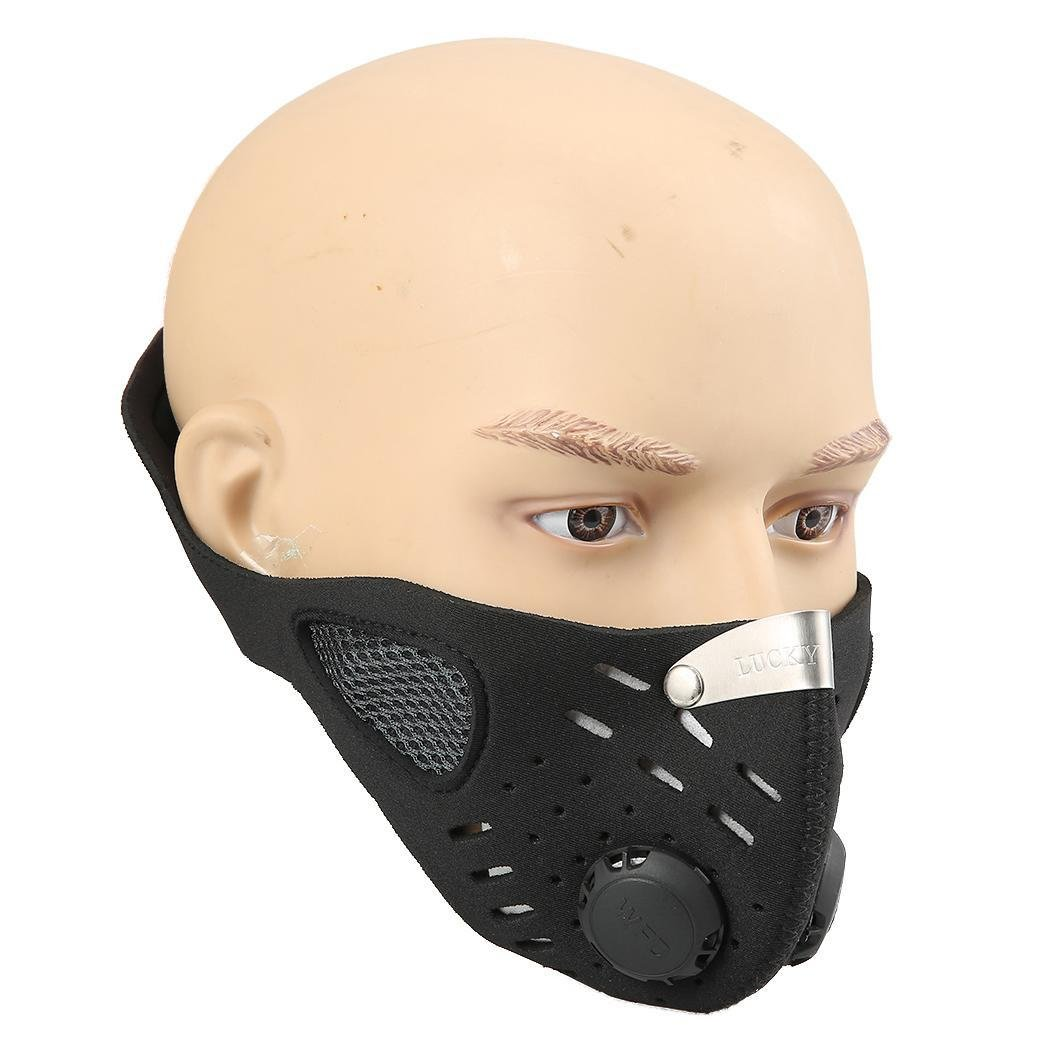 Anti-Dust Mask, Activated Carbon Filtration Anti-Pollution Fog PM 2.5 Unisex Muffle Mask for Motorcycle Ski Cycling Racing