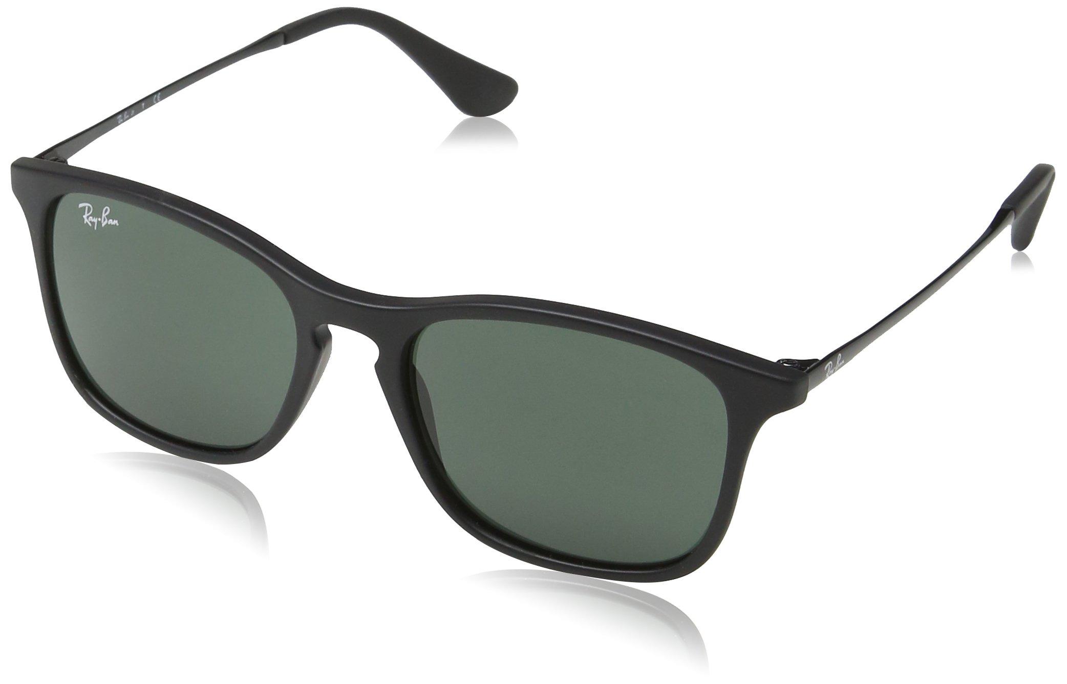 Ray-Ban Boy's Chris Junior Sunglass 0RJ9061S Rectangular Sunglasses, Rubber Black 700571, 49 mm