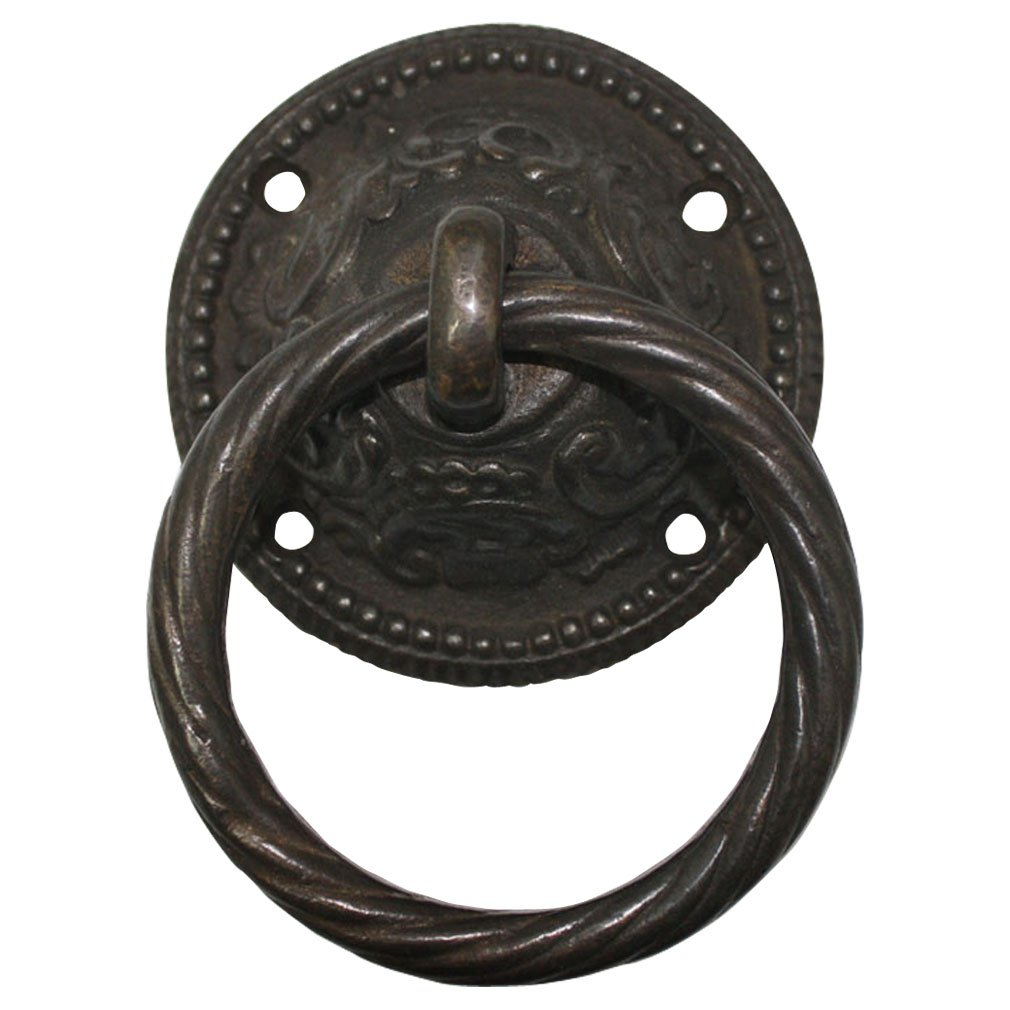 Vintage Looking Black Brown Heavy 95 mm Ring Drop Pull Cast Iron Metal Hardware Furniture Stable Shed Barn Wooden Gate Door Handle WOQZ3411 by JC Handle (Image #1)