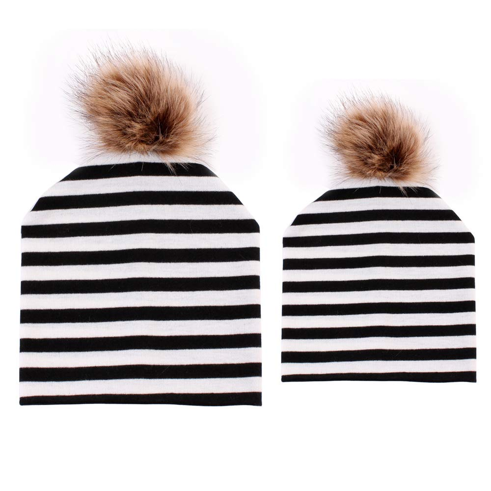 2PCS Parent Child Cotton Hat Winter Mom Baby Faux Fur Pompom Beanies Ski Cap Bebogo CA181011032