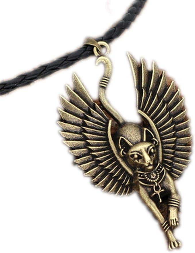 1 Amulet Jewelry Cat Bastet Necklace Ancient Egyptian Bastet Statue Egyptian Sphinx Black Cat Bastet Pendant Egypt Cat with Wing, Antique Bronze, 58   Amazon.com