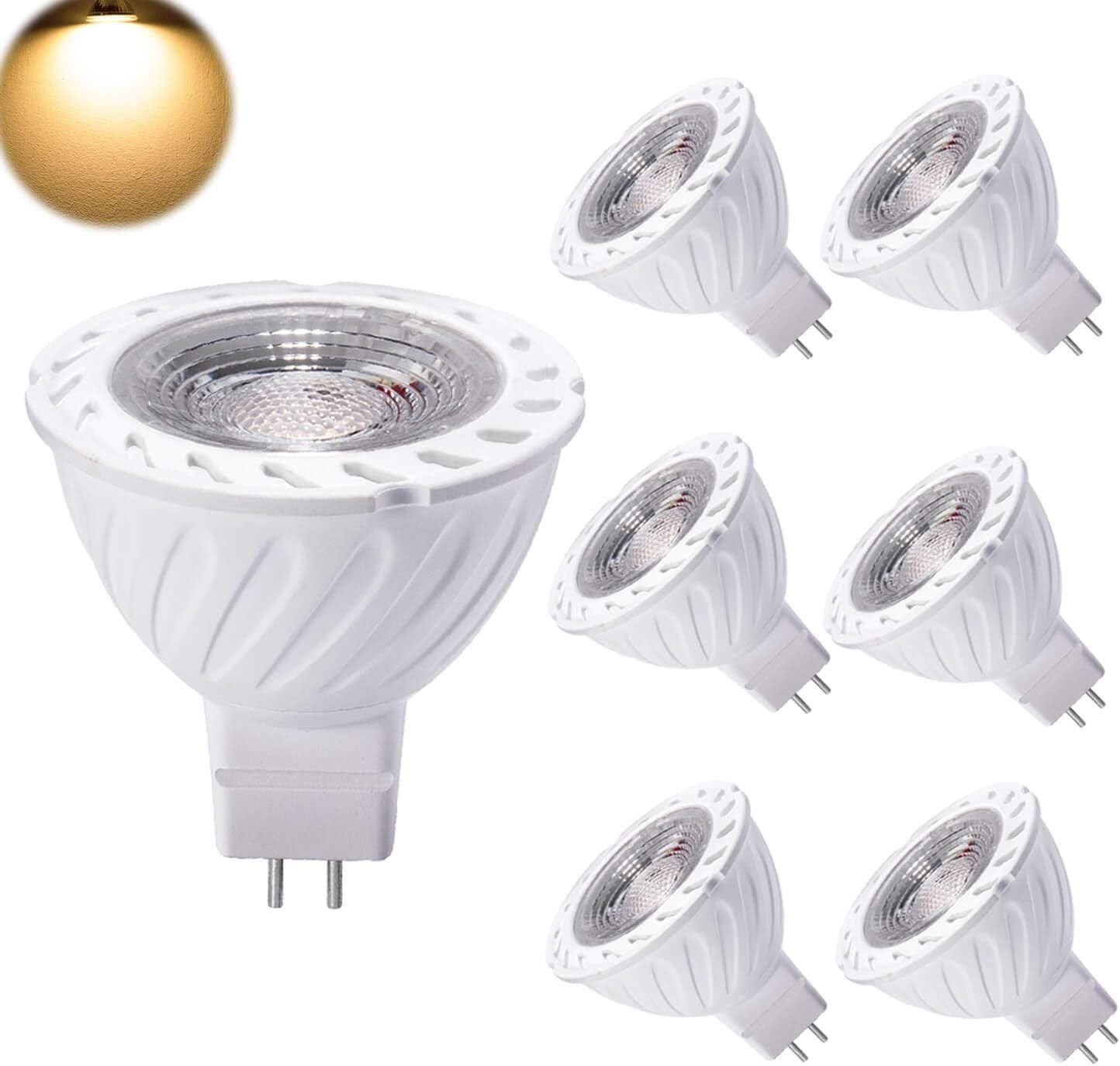 Yafido 6er MR16 LED Leuchtmittel GU5.3 Warmweiß 12V 7W