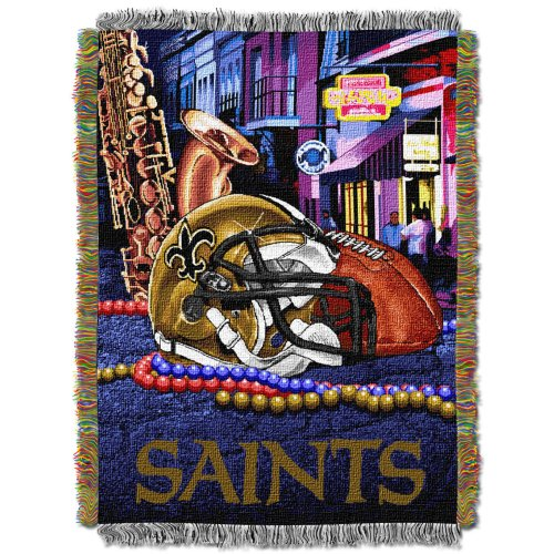 "The Northwest Company Officially Licensed NFL New Orleans Saints Home Field Advantage Woven Tapestry Throw Blanket, 48"" x 60"""