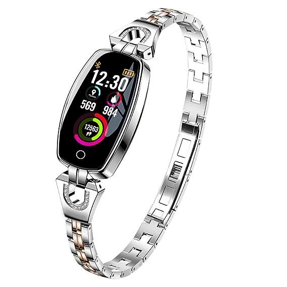 Wancooy H8 - Reloj de Pulsera para Mujer (Piel sintética, Correa de Acero), diseño de números Grandes, 0.43, Color Plata: Amazon.es: Relojes