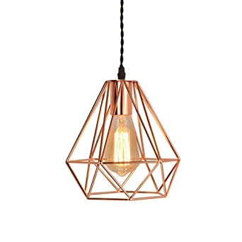 Efinehome vintage industrial rose gold pyramid metal cage pendant efinehome vintage industrial rose gold pyramid metal cage pendant light hard wired 1 light mozeypictures Choice Image