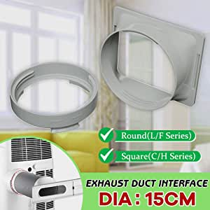 opOpb213IL Universal Exhaust Duct Interface Connector,Round//Square Shaped Exhaust Duct Interface for 15cm Portable Air Conditioner PC Silver Round L//F Series