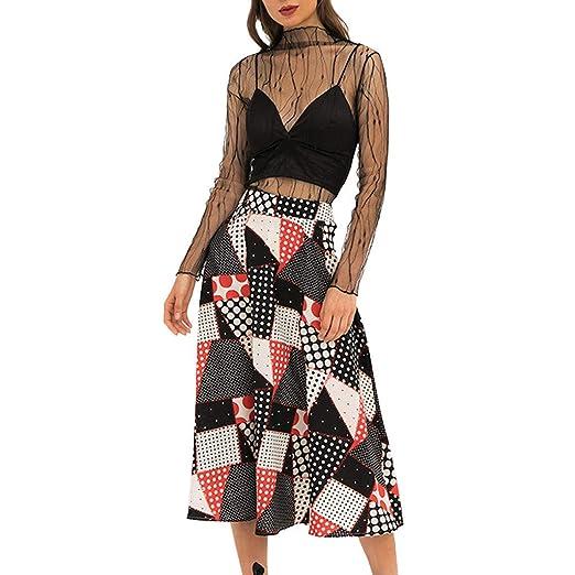 2887a75c716412 Fashion Ladies A-Line Midi Skirts Bohemian Chequered High Waist Color Block  Beach Half-Length Skirt at Amazon Women's Clothing store: