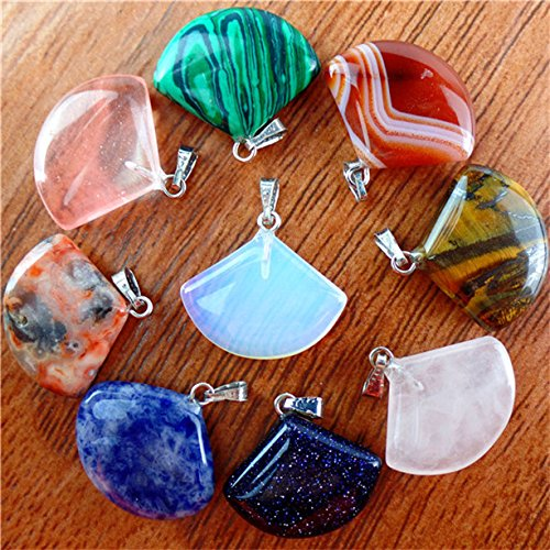 Beautiful 10pcs Mixed Gemstone Fan-shaped Pendant Bead Send Randomly