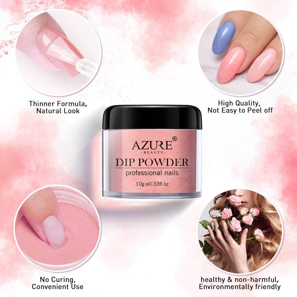Dip Powder Nails Color Set With 10 PCS Dip Powders Nails No Nail Lamp Needed for French Nail Manicure Nail Art: Beauty