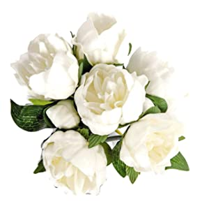 """Meide Group USA 14"""" Real Touch Latex Mini Peony Bunch Artificial Spring Flowers for Home Decor, Wedding Bouquets, and centerpieces (6 PCS) (Milky White)"""