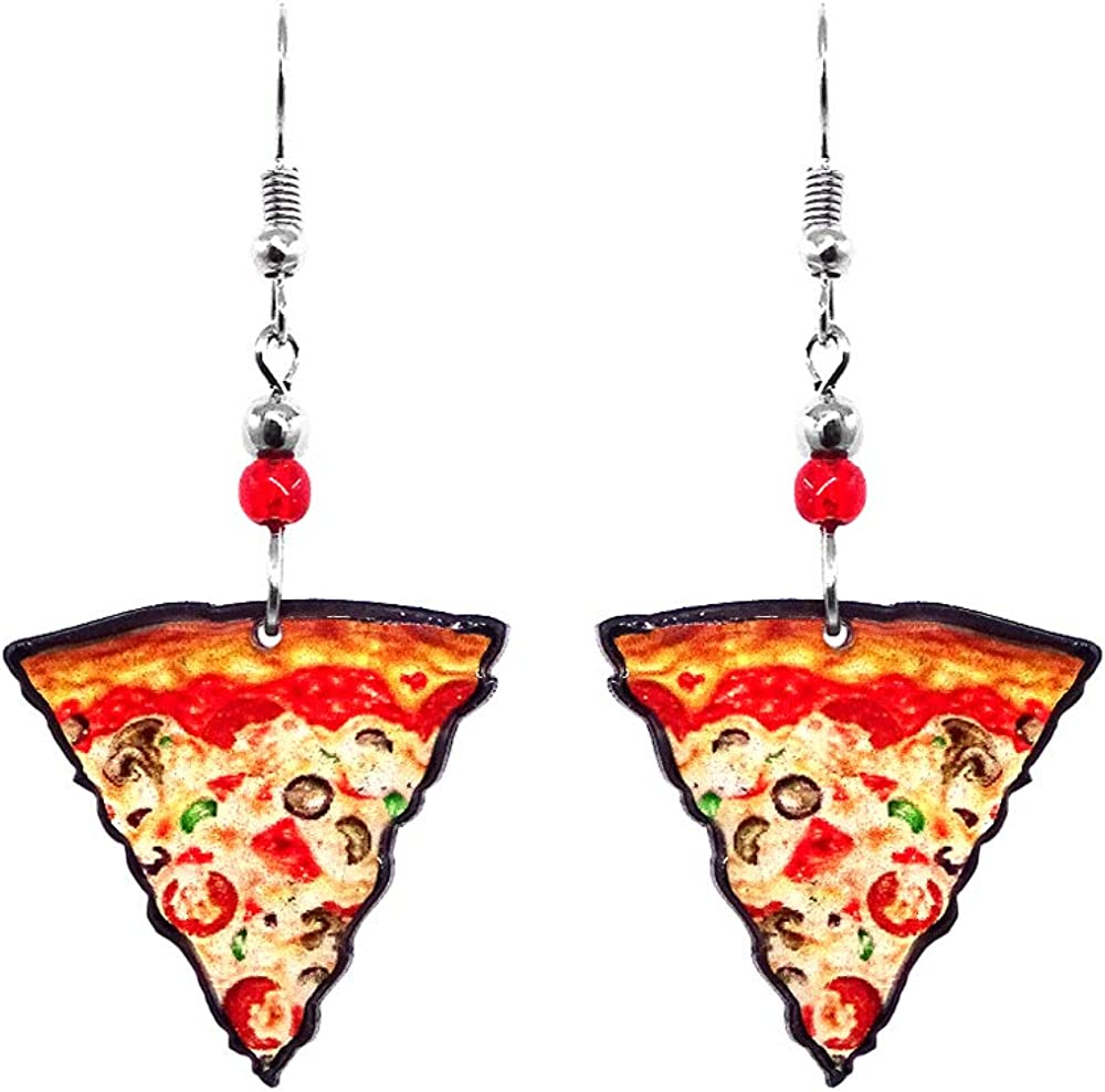 Pizza Slice Food Dangle Earrings