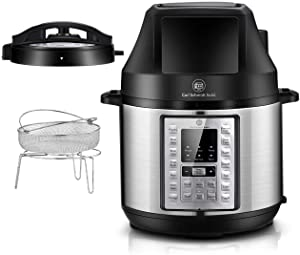 Pressure Cooker and Air Fryer Combo-CSS 6.5QT Air Fryer and Slow Cooker with 2 Detachable Lid, LED Digital Touchscreen,21 Programmable,Free Recipe & Accessories,Compatible for Rice Cook