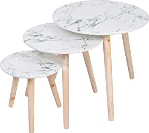 SOPRETY Nesting Coffee Table Marbling, Wood Round End Table, Side Table Set of 3, Modern Desk for Living Room, Bedroom, Office, White