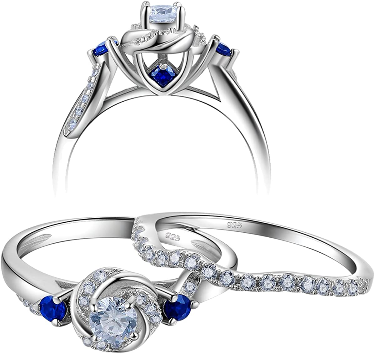 Newshe Size 8 9 Engagement Wedding Ring Set for Women 925 Sterling Silver 0.8ct Round White Cz Blue