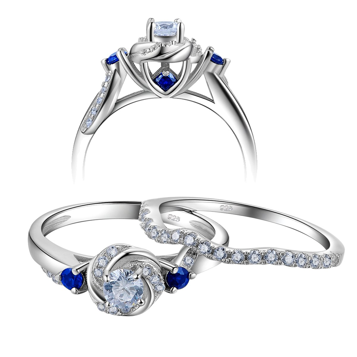 Newshe Engagement Wedding Ring Set For Women 925 Sterling Silver 0.8ct Round White Cz Blue Size 9