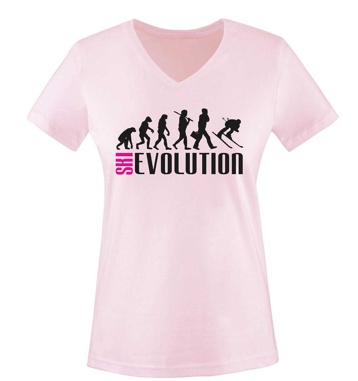 Comedy Shirts - SKI EVOLUTION - Damen V-Neck T-Shirt - Gr. XS-XXL Versch. Farben